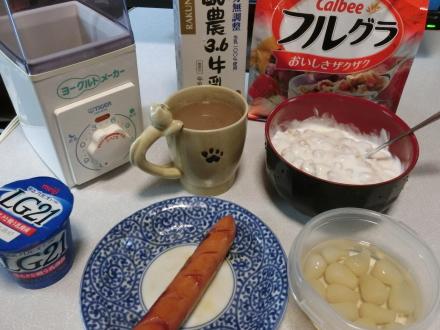 朝食フルグラヨーグルト